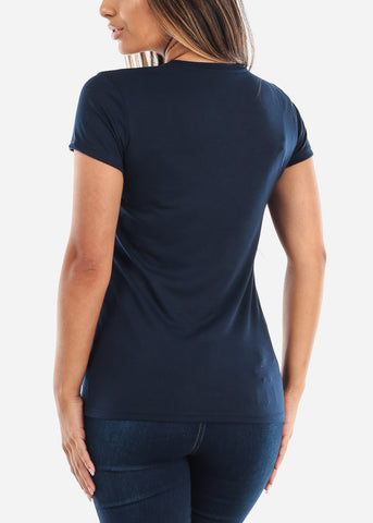 Image of Crew Neck Basic Navy Tshirt