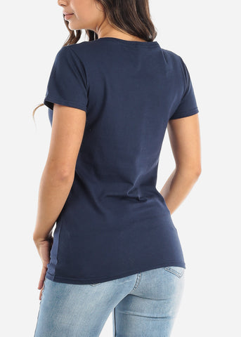 "Image of Navy Short Sleeve Top ""Bonjour"""