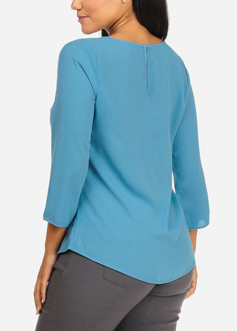Light Weight 3/4 Sleeves Round Neck Light Blue Flowy Blouse