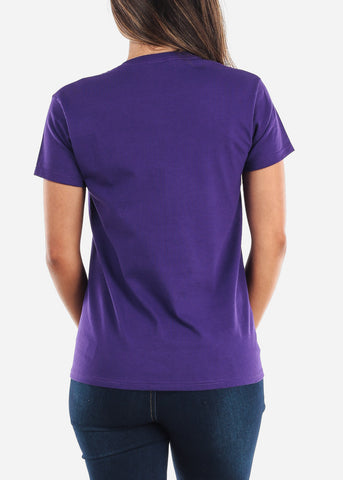 Crew Neck Basic Purple Tshirt