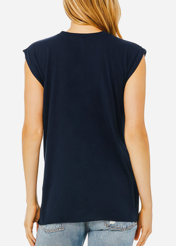 Navy Flowy Rolled Cuffs Muscle Tee