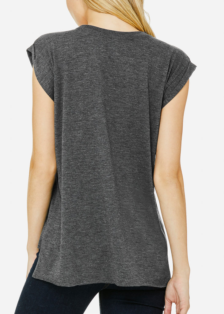 Dark Grey Flowy Rolled Cuffs Muscle Tee