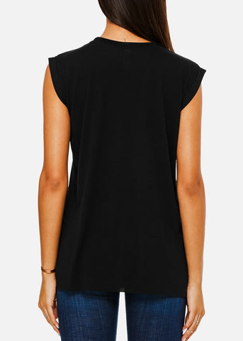 Image of Black Flowy Rolled Cuffs Muscle Tee