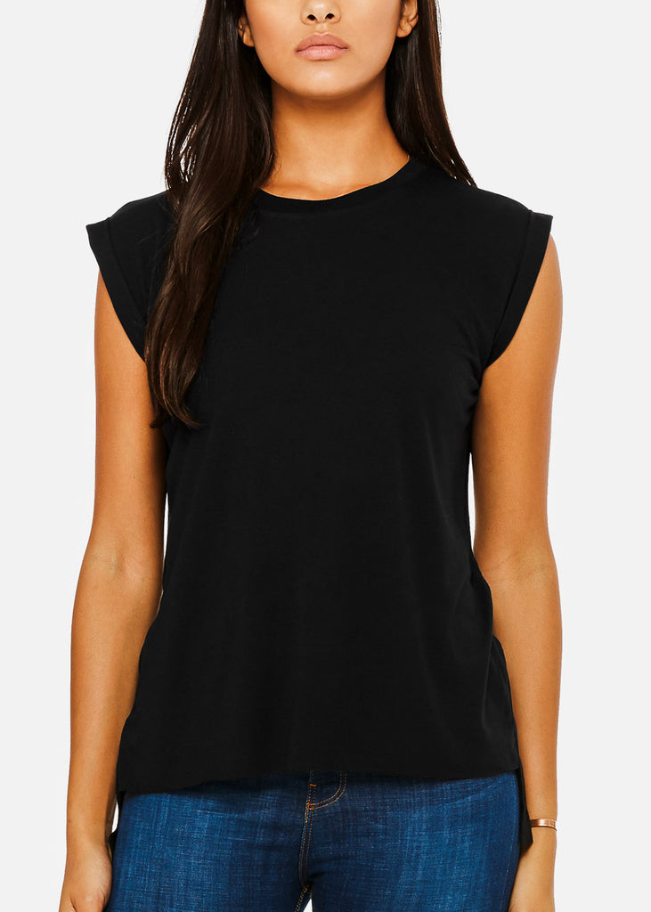 Black Flowy Rolled Cuffs Muscle Tee