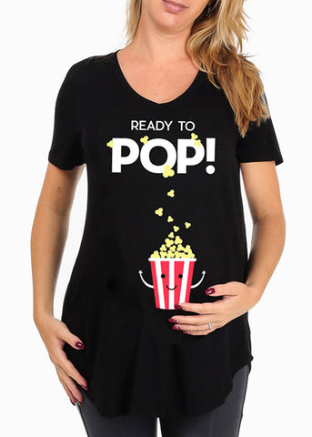 Ready To Pop Cute Graphic Print Solid Black Loose Fit Top For Pregnant Women Ladies At Affordable Price