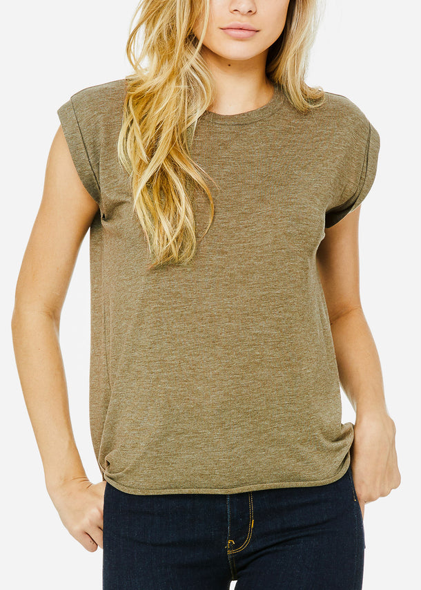 Olive Flowy Rolled Cuffs Muscle Tee