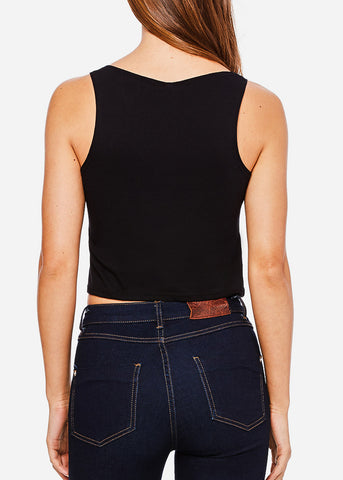 Image of Black Cropped Tank Top