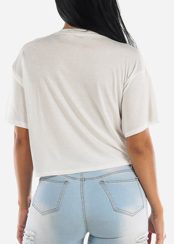 "Image of White Graphic Flowy Tee ""Positive"""