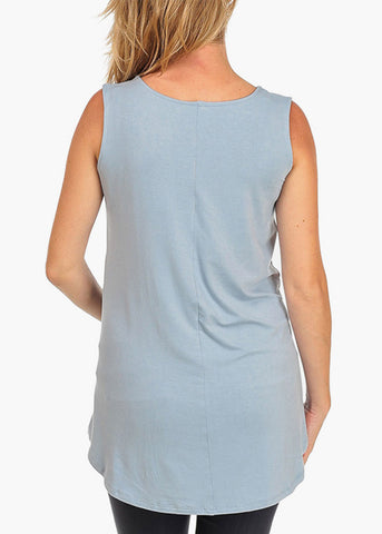 Image of It's Not For Me It's For The Baby Graphic Print Sleeveless Loose Fit Light Blue Maternity Top For Pregnant Women Ladies On Sale Affordable Price