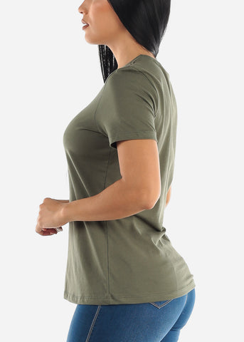 Image of Olive Crew Neck T-shirt