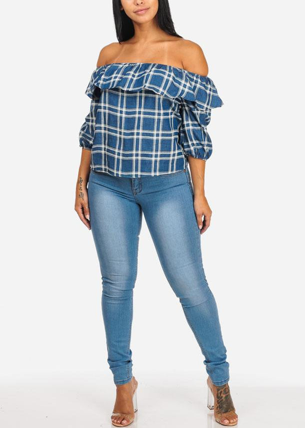 Blue Off Shoulder Plaid Casual Ruffle Top