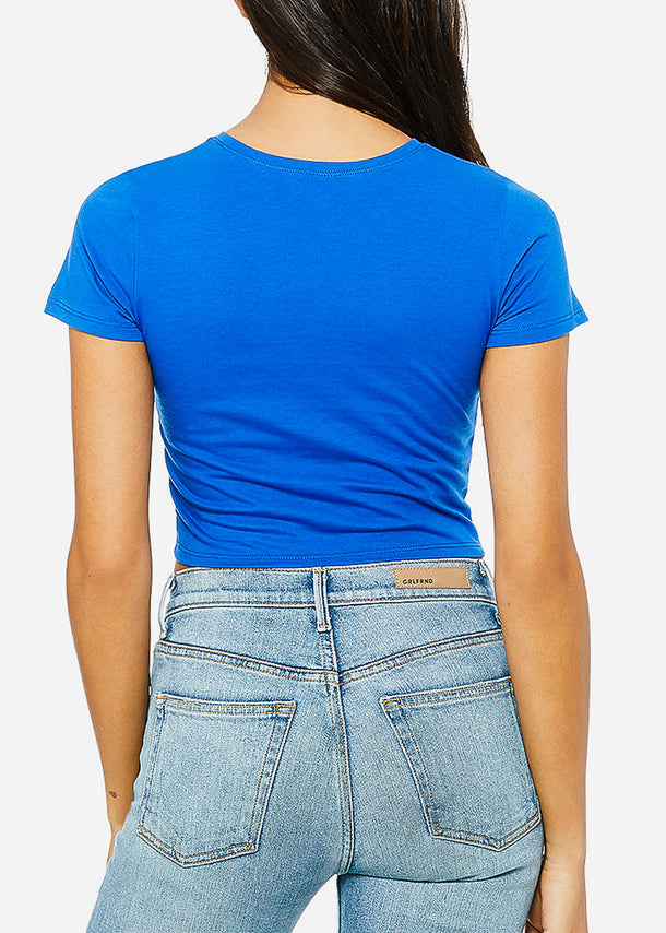 Short Sleeve Royal Blue Crop Tee
