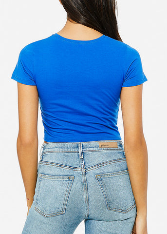 Image of Short Sleeve Royal Blue Crop Tee
