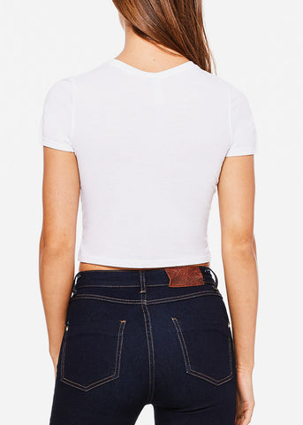 Image of Short Sleeve White Crop Tee