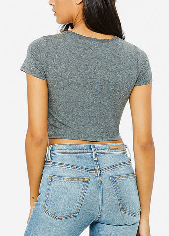 Short Sleeve Dark Grey Crop Tee