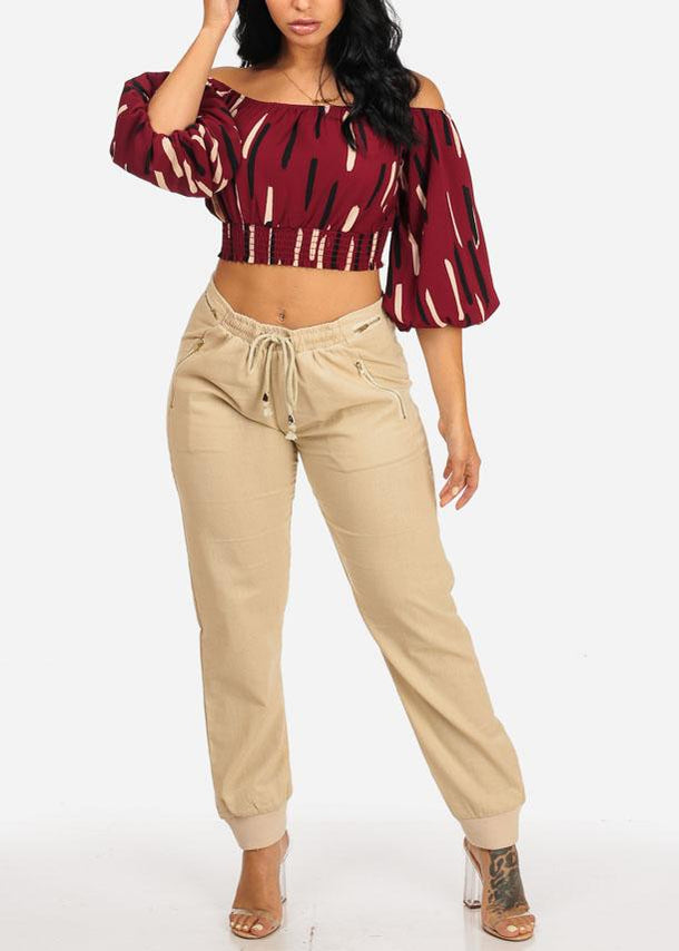 Off Shoulder Burgundy Crop Top