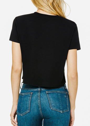 Image of Black Flowy Cropped Tee