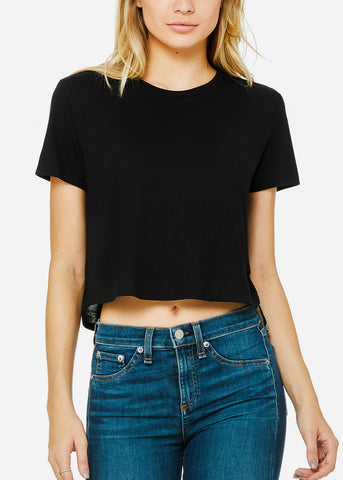 Black Flowy Cropped Tee