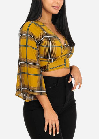 Mustard Plaid Crop Top