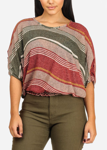 Dolman Green Stripe Top W Elastic Detail