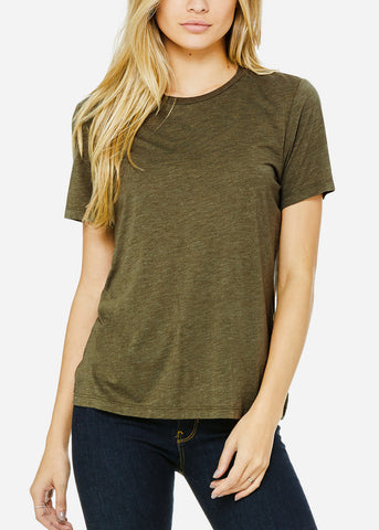 Olive Relaxed Fit Triblend Tee