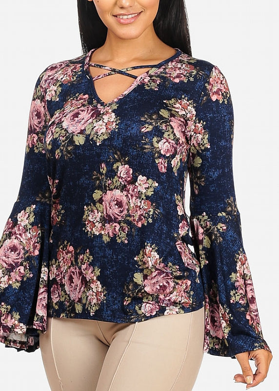 Angel Crisscross Floral Navy Top
