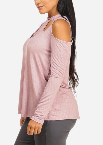 Image of Cold Shoulder Dotted Pink Top