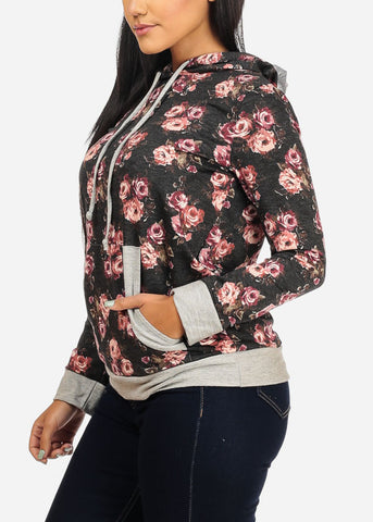 Image of Floral Kangaroo pocket Sweater Hoodie