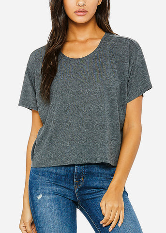 Image of Dark Grey Flowy Boxy Tee