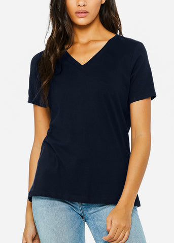 Image of Navy Relaxed Jersey V-Neck Tee
