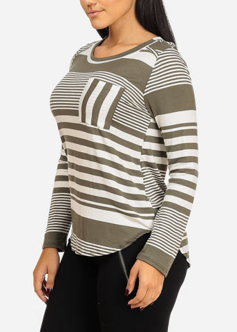 Olive Stripe Tunic Top