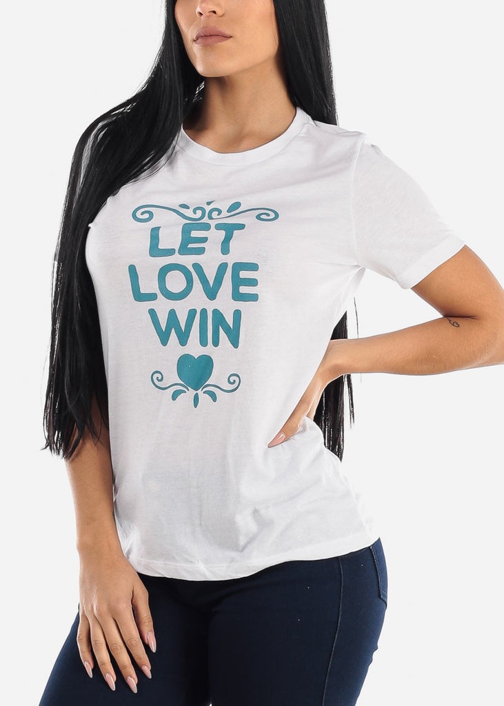 "White Graphic Tee ""Let Love Win"""