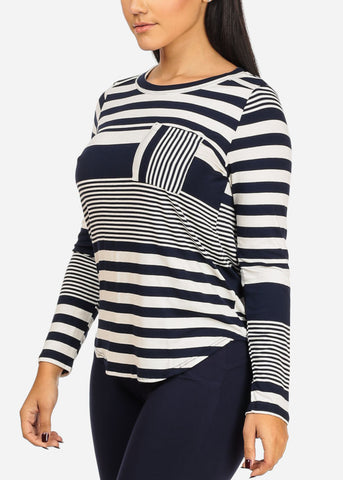 Image of Navy Stripe Tunic Top