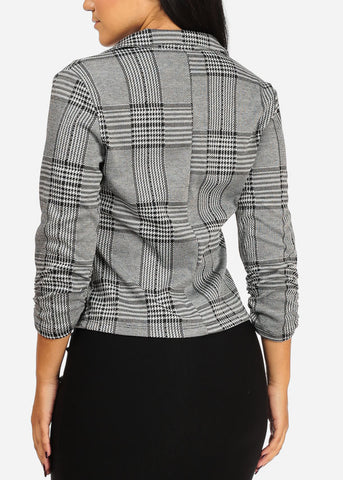 Image of Houndstooth Print Stretchy Blazer