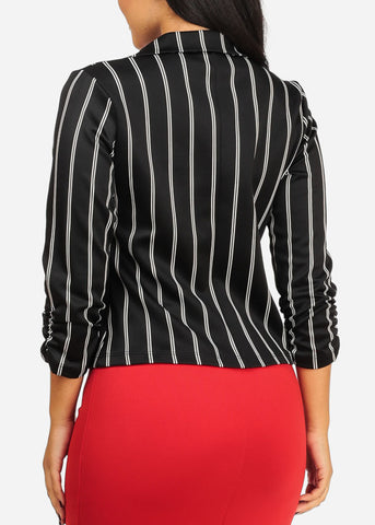 Black And White Stripe Stretchy Blazer