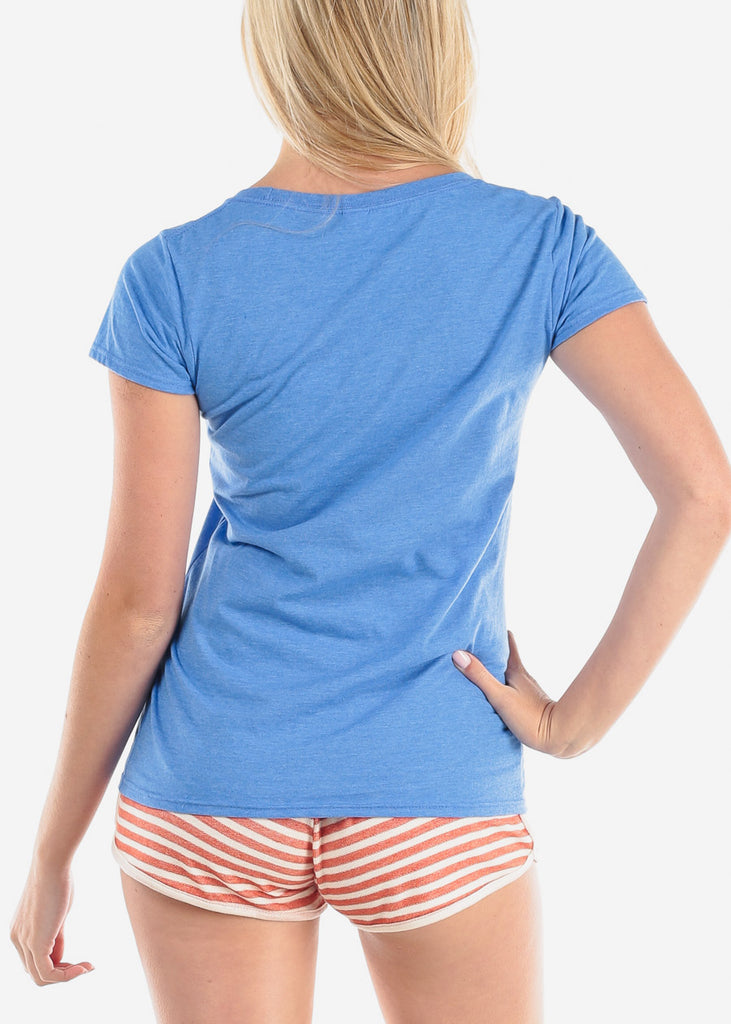 Women's Junior Ladies Casual Basic Cute Ride The Wave Graphic Print Round Neckline Short Sleeve Blue Tshirt Top
