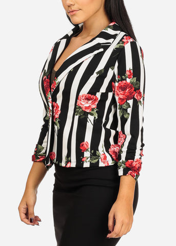 One Button Floral And Stripe Blazer