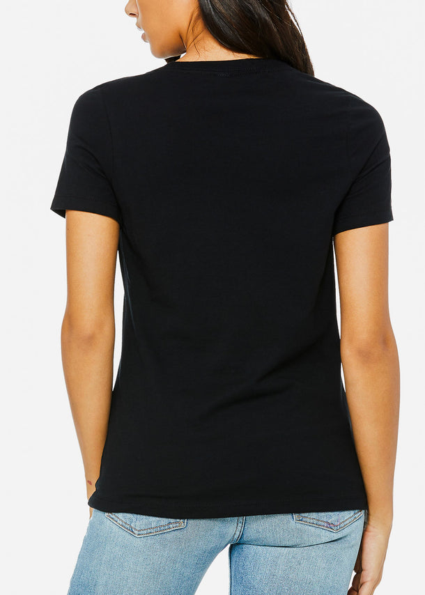Black Relaxed Jersey V-Neck Tee