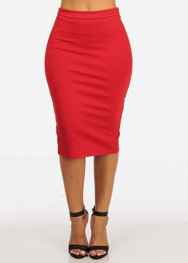 High Rise Slim Pencil Skirt