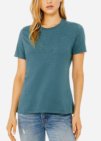 Heather Deep Teal Relax Fit Tee