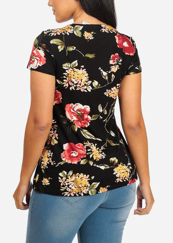 Tie Front Floral Black Top
