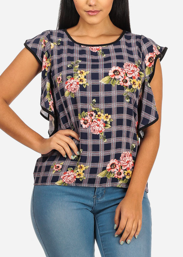 Ruffle Navy Floral Plaid Top