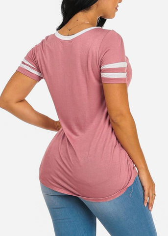 Say Yes Graphic Short Sleeve Pink Top