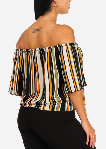 Green Stripe Off Shoulder Top
