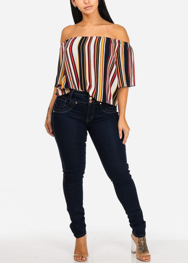 Mustard Stripe Off Shoulder Top