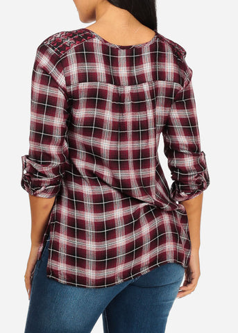 Image of Side Slits Plaid Print Burgundy Top