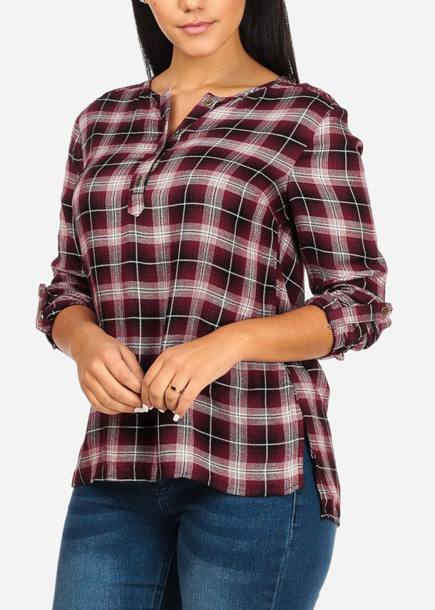 Side Slits Plaid Print Burgundy Top