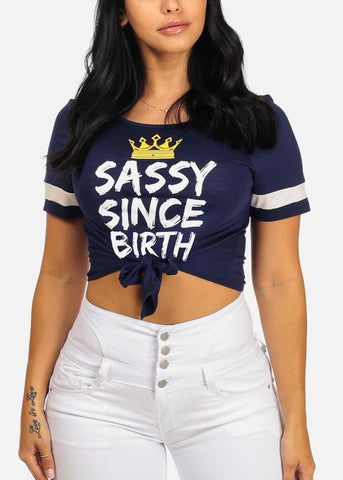 Sassy Graphic Front Knot Navy Top
