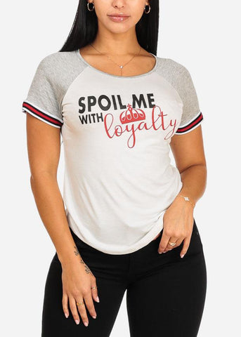 Affordable White And Grey Spoil Me Graphic Top