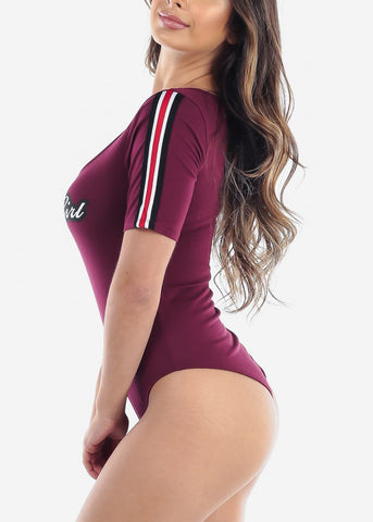 Cute Sexy Baby Girl Graphic Print Short Sleeve Burgundy Bodysuit On Sale For Women Junior Ladies